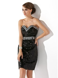 Sheath Sweetheart Short/Mini Sequined Cocktail Dress With Beading