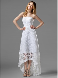 A-Line/Princess Strapless Asymmetrical Satin Lace Wedding Dress With Beadwork (002000226)