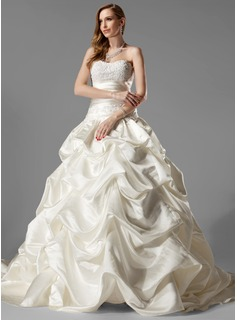 Ball-Gown Sweetheart Court Train Satin Wedding Dress With Ruffle Lace (002000451)