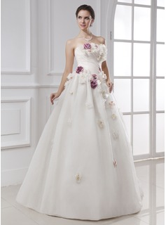 Ball-Gown Strapless Floor-Length Organza Wedding Dress With Ruffle Beadwork Flower(s)