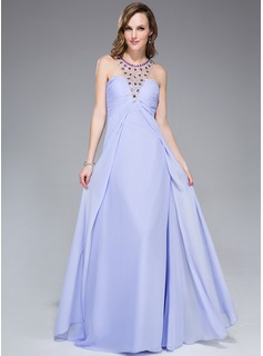 Empire Scoop Neck Floor-Length Chiffon Tulle Evening Dress With Beading Sequins