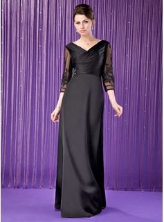 A-Line/Princess V-neck Floor-Length Tulle Charmeuse Mother of the Bride Dress With Ruffle Lace Beading
