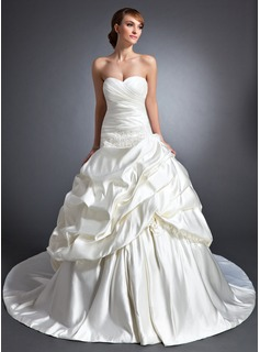 Ball-Gown Sweetheart Cathedral Train Satin Wedding Dress With Ruffle Flower(s) Sequins