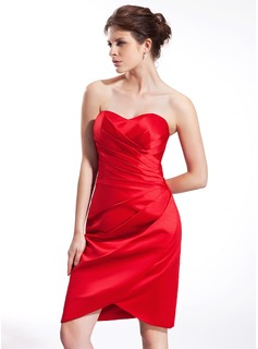 Sheath/Column Sweetheart Knee-Length Satin Bridesmaid Dress With Ruffle