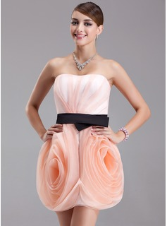 Sheath/Column Strapless Short/Mini Organza Satin Homecoming Dress With Ruffle Sash