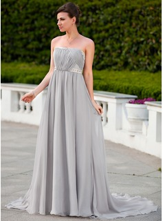 Empire Strapless Court Train Chiffon Charmeuse Evening Dress With Ruffle Beading (018024585)