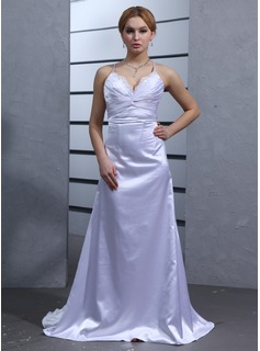 Empire V-neck Watteau Train Charmeuse Wedding Dress With Ruffle Lace Beadwork