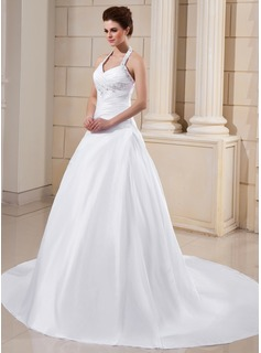 A-Line/Princess Halter Cathedral Train Taffeta Wedding Dress With Ruffle Beading Appliques Lace