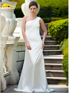 Sheath One-Shoulder Court Train Charmeuse Bridesmaid Dress With Ruffle (017024574)