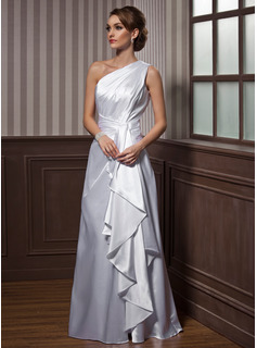 A-Line/Princess One-Shoulder Floor-Length Charmeuse Evening Dress With Ruffle
