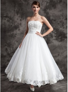 A-Line/Princess Strapless Ankle-Length Organza Satin Wedding Dress With Lace Beading