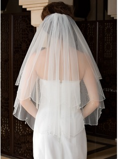 Two-tier Elbow Bridal Veils With Finished Edge/Beaded Edge