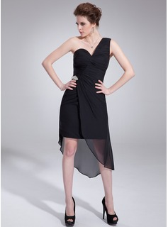 Sheath/Column One-Shoulder Asymmetrical Chiffon Cocktail Dress With Ruffle Crystal Brooch