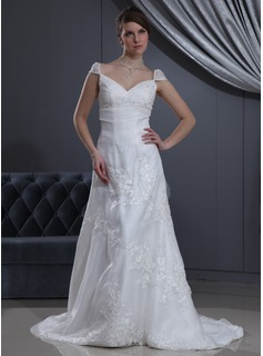 A-Line/Princess V-neck Court Train Organza Satin Wedding Dress With Lace Beadwork (002012040)