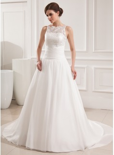 Ball-Gown Scoop Neck Court Train Chiffon Satin Wedding Dress With Ruffle Lace (002019534)