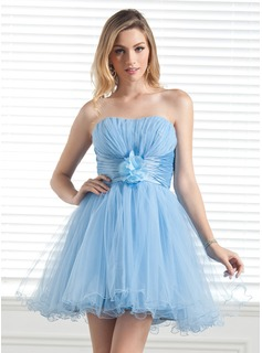 A-Line/Princess Sweetheart Short/Mini Taffeta Tulle Holiday Dress With Ruffle Flower(s)