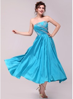 A-Line/Princess Strapless Ankle-Length Taffeta Charmeuse Prom Dress With Ruffle (018014008)