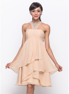 A-Line/Princess Scoop Neck Knee-Length Chiffon Tulle Cocktail Dress With Ruffle Beading Sequins