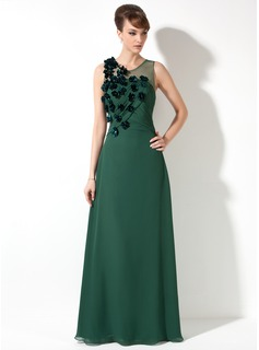 Sheath/Column Scoop Neck Floor-Length Chiffon Tulle Mother of the Bride Dress With Ruffle Beading Flower(s)