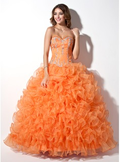 Ball-Gown Sweetheart Floor-Length Organza Quinceanera Dress With Lace Beading Sequins Cascading Ruffles