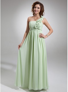 Empire One-Shoulder Floor-Length Chiffon Holiday Dress With Ruffle Flower(s) (020016722)