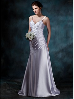 Sheath/Column V-neck Court Train Charmeuse Wedding Dress With Ruffle