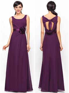 A-Line/Princess Scoop Neck Floor-Length Chiffon Charmeuse Bridesmaid Dress With Ruffle Flower(s)