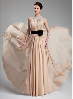 A-Line/Princess Halter Floor-Length Chiffon Charmeuse Prom Dress With Ruffle Beading Flower(s)