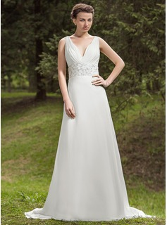 A-Line/Princess V-neck Court Train Chiffon Wedding Dress With Ruffle Beadwork Sequins