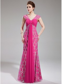 Sheath/Column V-neck Watteau Train Chiffon Lace Prom Dress With Ruffle Beading