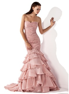 Mermaid Sweetheart Court Train Chiffon Evening Dress With Ruffle (017013103)