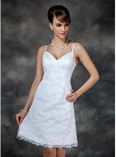 Sheath/Column Sweetheart Knee-Length Satin Lace Wedding Dress With Beading Sequins