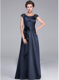 A-Line/Princess Scoop Neck Sweep Train Tulle Charmeuse Mother of the Bride Dress With Ruffle Lace Beading Flower(s)