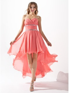 A-Line/Princess Sweetheart Asymmetrical Chiffon Homecoming Dress With Beading Cascading Ruffles