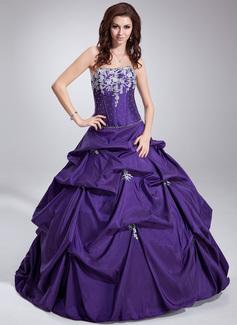 Corte de baile Estrapless Vestido Tafetán Vestido de quinceañera con Volantes Encaje Bordado Lentejuelas