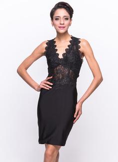 Sheath/Column V-neck Knee-Length Lace Jersey Cocktail Dress