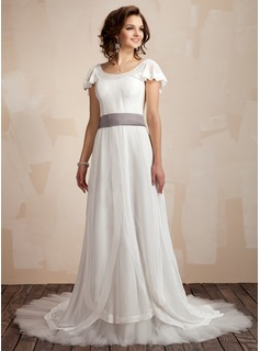 A-Line/Princess Scoop Neck Court Train Chiffon Tulle Charmeuse Wedding Dress With Ruffle Sash Beading Bow