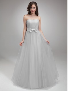 A-Line/Princess Sweetheart Floor-Length Satin Tulle Homecoming Dress With Ruffle