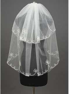 Two-tier Fingertip Bridal Veils With Finished Edge