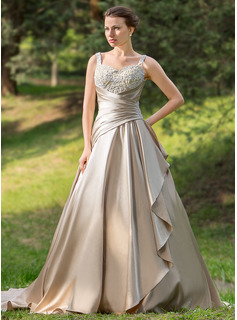 Ball-Gown Sweetheart Court Train Satin Wedding Dress With Ruffle Beading Appliques Lace Cascading Ruffles