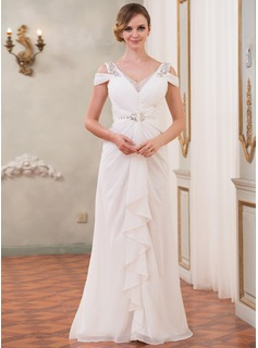 Trumpet/Mermaid Off-the-Shoulder Floor-Length Chiffon Tulle Wedding Dress With Beading Sequins Cascading Ruffles