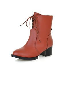 Leatherette Low Heel Ankle Boots With Lace-up shoes
