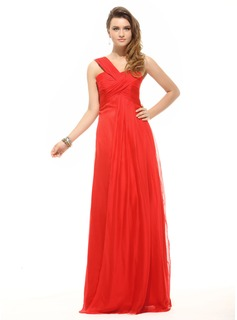 Empire One-Shoulder Floor-Length Chiffon Holiday Dress With Ruffle