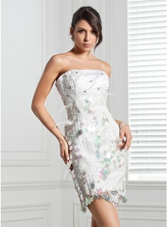 Sheath Strapless Short/Mini Satin Cocktail Dress With Beading Feather Flower(s) Sequins