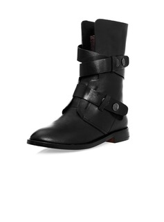 Real Leather Flat Heel Mid-Calf Boots With Buckle shoes