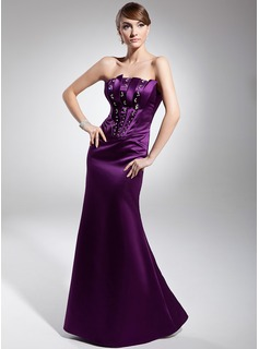 Sheath Strapless Floor-Length Satin Evening Dress With Beading