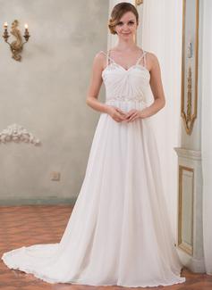 A-Line/Princess Sweetheart Chapel Train Chiffon Tulle Charmeuse Wedding Dress With Ruffle Beading Sequins