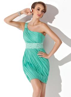 Sheath/Column One-Shoulder Short/Mini Chiffon Charmeuse Homecoming Dress With Ruffle Beading