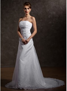A-Line/Princess Strapless Court Train Organza Satin Wedding Dress With Ruffle Lace Beadwork (002012740)
