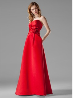 Empire Sweetheart Floor-Length Satin Bridesmaid Dress With Ruffle Beading Flower(s) (007000935)